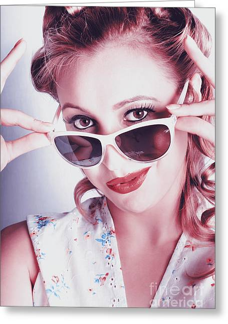 Fifties Glamor Girl Wearing Retro Pin-up Fashion Greeting Card by Jorgo Photography - Wall Art Gallery