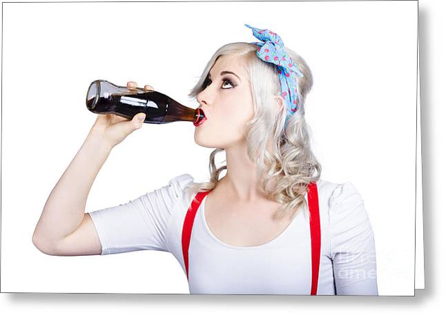 Fifties Pin-up Promo Woman Drinking Soft Drink Greeting Card