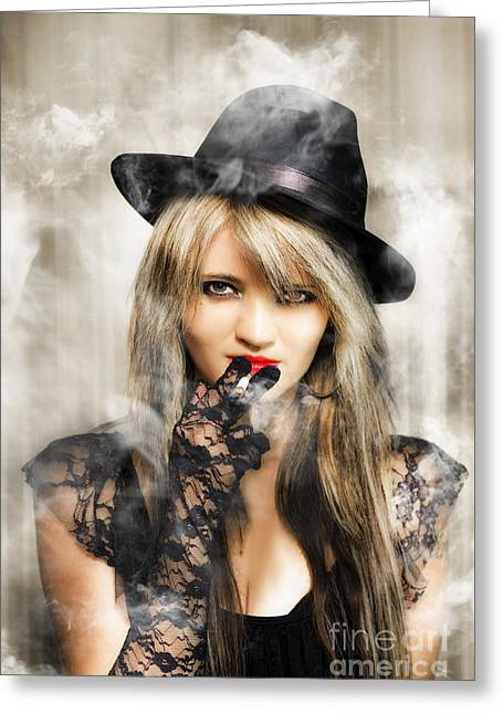 Fifties Portrait Of Smoking Hot Beautiful Woman Greeting Card by Jorgo Photography - Wall Art Gallery
