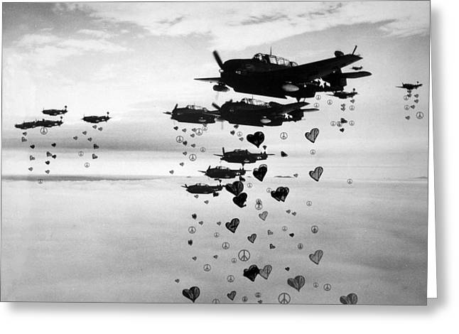 Fighting For Peace And Love Greeting Card by Celestial Images