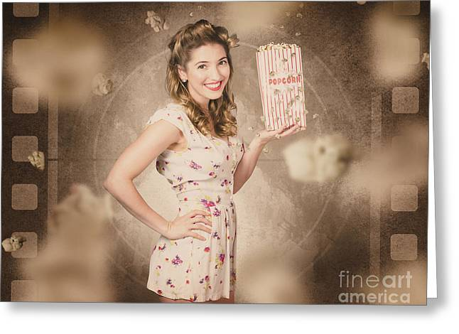 Film And Cinema Pin-up Woman In Old Classic Movie Greeting Card by Jorgo Photography - Wall Art Gallery