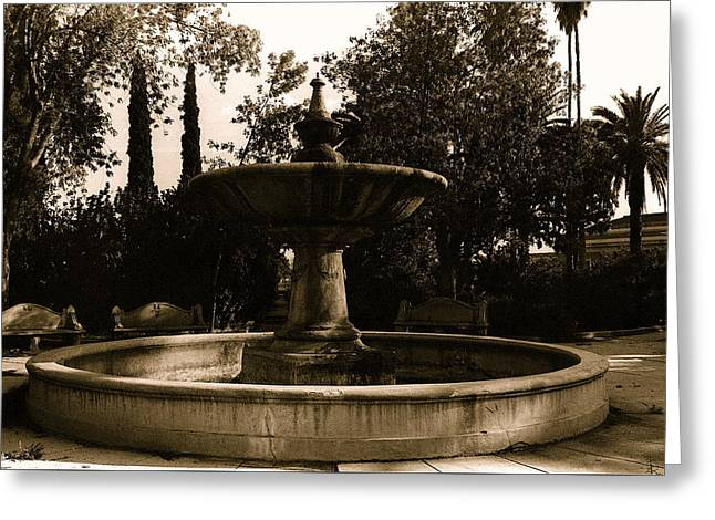 Film Noir Mary Astor A Kiss Before Dying Fountain El Paso And Southwestern Rr Depot Tucson Arizona Greeting Card