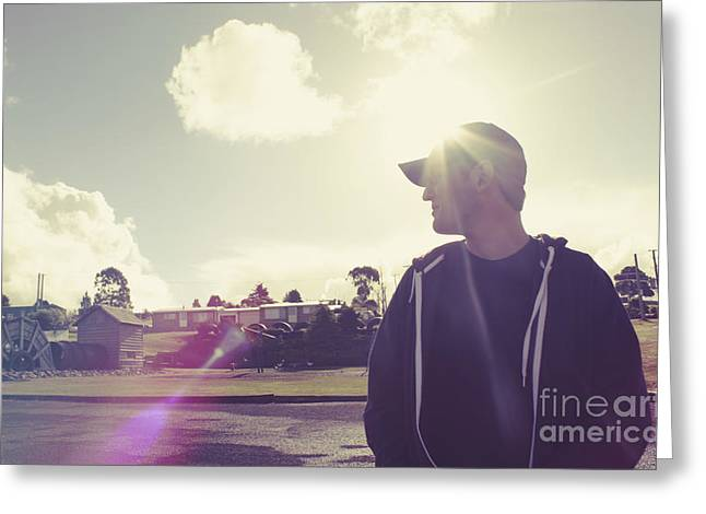 Filtered Style Retro Photo. Sun Flare Travel Man  Greeting Card by Jorgo Photography - Wall Art Gallery