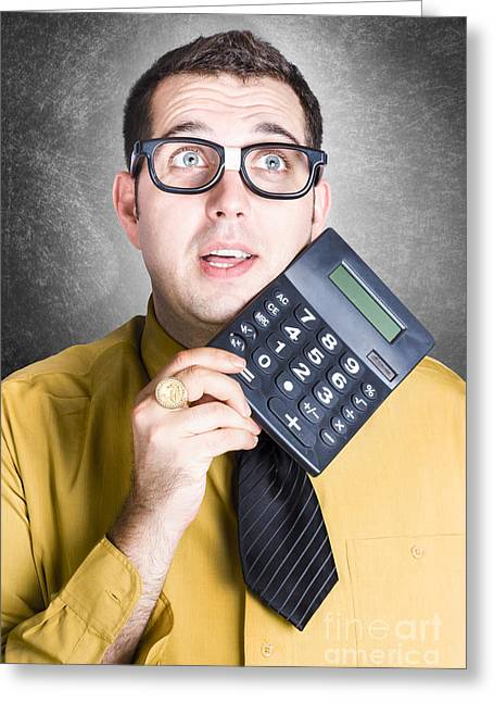 Finance Office Worker Thinking With Big Calculator Greeting Card by Jorgo Photography - Wall Art Gallery
