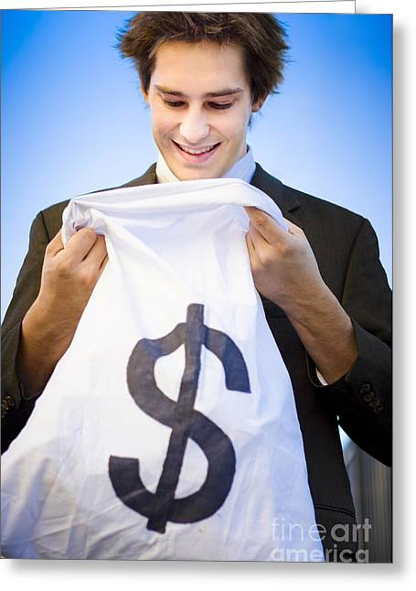 Financial Reward Of Business Success Greeting Card by Jorgo Photography - Wall Art Gallery