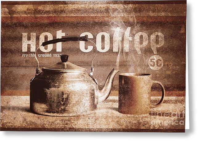 Fine Art Coffee Shop Tin Sign Insignia Greeting Card