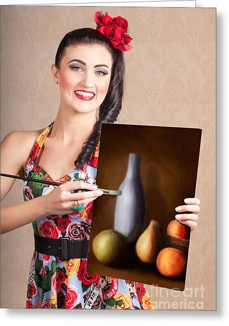 Fine Art Girl Painting Still Life Gallery Artwork Greeting Card by Jorgo Photography - Wall Art Gallery