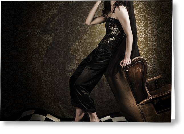 Fine Art Grunge Fashion Portrait In Dark Interior Greeting Card by Jorgo Photography - Wall Art Gallery