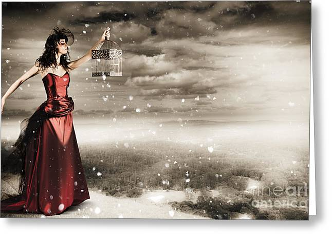 Fine Art Photo Of A Beautiful Winter Fashion Woman Greeting Card by Jorgo Photography - Wall Art Gallery