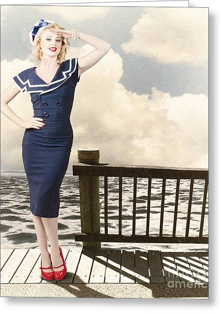 Fine Art Vintage Pin-up. Vacation Departure Dock Greeting Card by Jorgo Photography - Wall Art Gallery