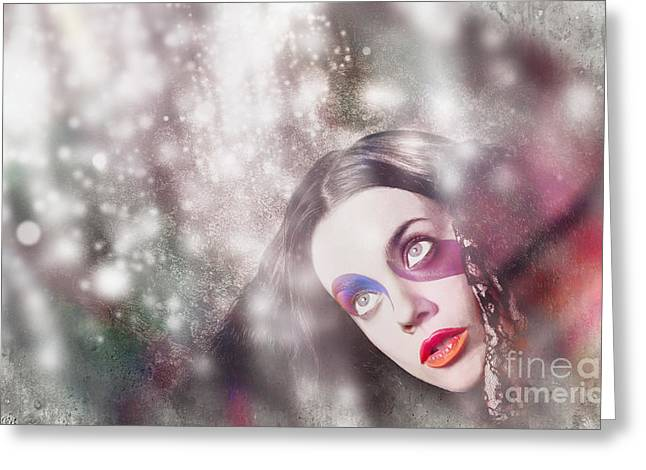 Fine Art Woman In Light Of Spiritual Awakening Greeting Card