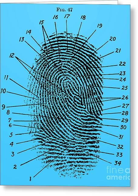 Fingerprint Diagram, 1940 Greeting Card