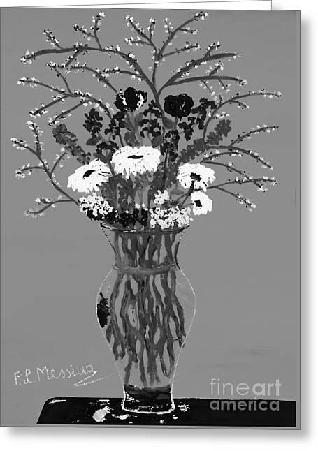 Fiori-black And White Greeting Card by Loredana Messina