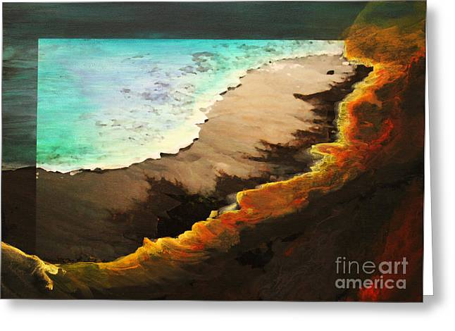 Greeting Card featuring the mixed media Fire And Water by Jeanette French
