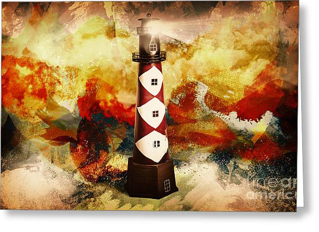 Fire On Lighthouse Hill Greeting Card by Jorgo Photography - Wall Art Gallery