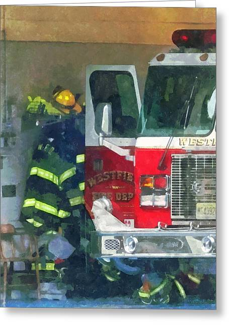 Firemen - Inside The Fire Station Greeting Card by Susan Savad