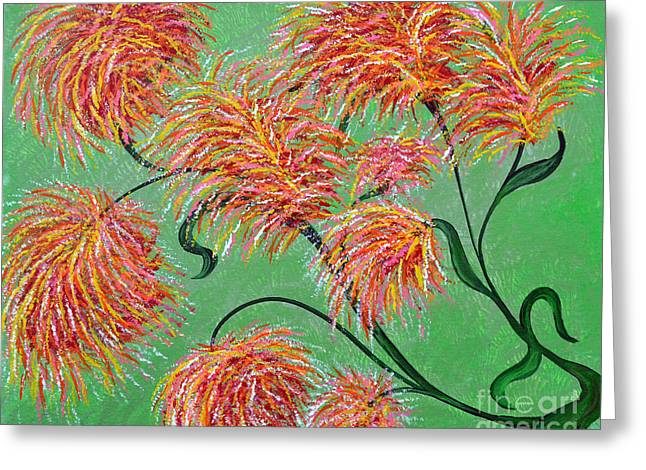 Greeting Card featuring the painting Fireworks by Alys Caviness-Gober