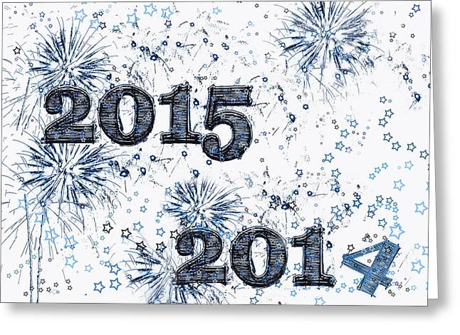Fireworks And Stars Happy New Year 2015 Greeting Card by Marianne Campolongo