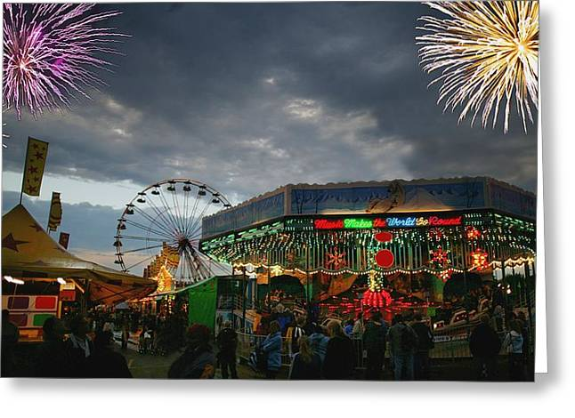Fireworks At An Amusement Park Greeting Card by Darren Greenwood