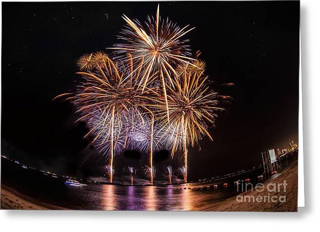 Fireworks At Pattaya Beach Greeting Card