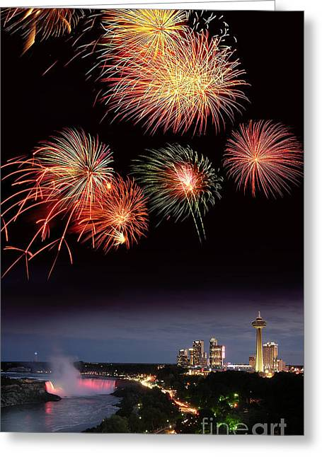 Fireworks Display Over Niagara Falls Greeting Card by Tony Craddock