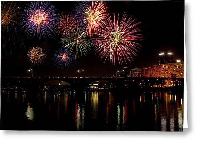Fireworks Over The Broadway Bridge Greeting Card