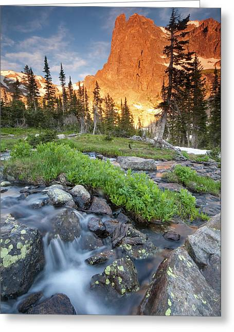 First Light On Long S Peak At Chasm Greeting Card by Carl Johnson