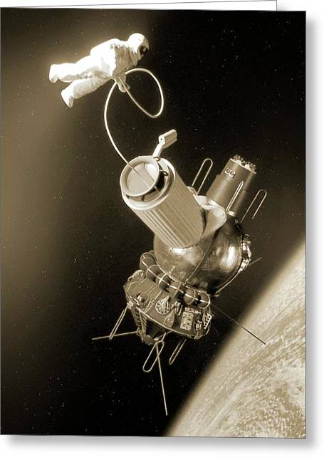 First Space Walk Greeting Card by Detlev Van Ravenswaay