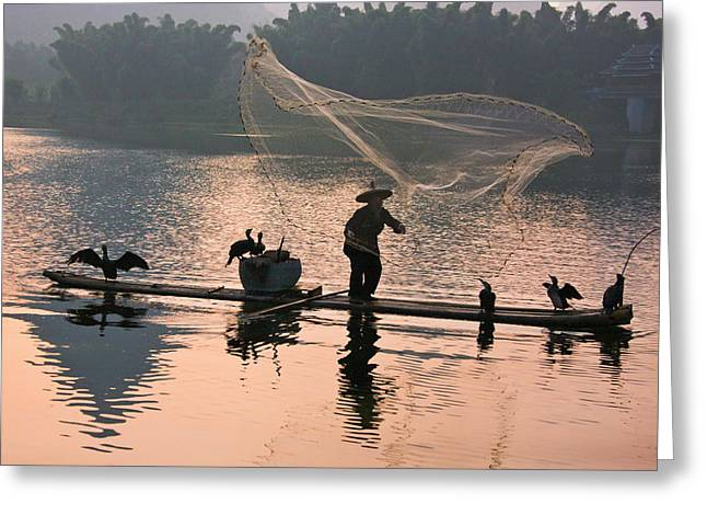 Fisherman Fishing With Cormorants Greeting Card by Keren Su