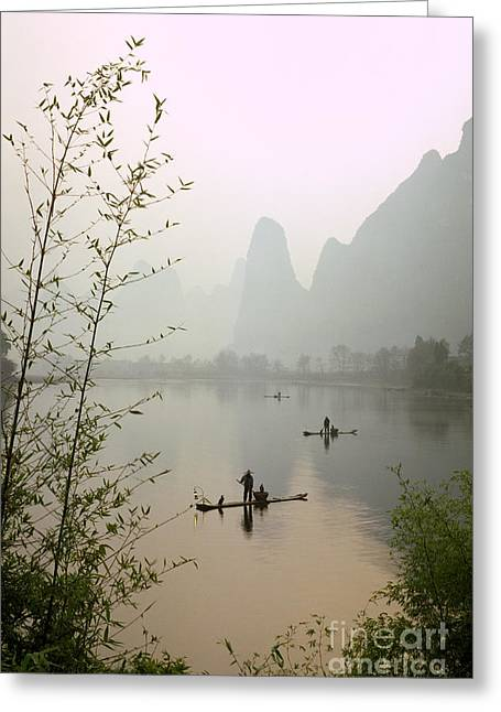 Fishermen In China Greeting Card by King Wu