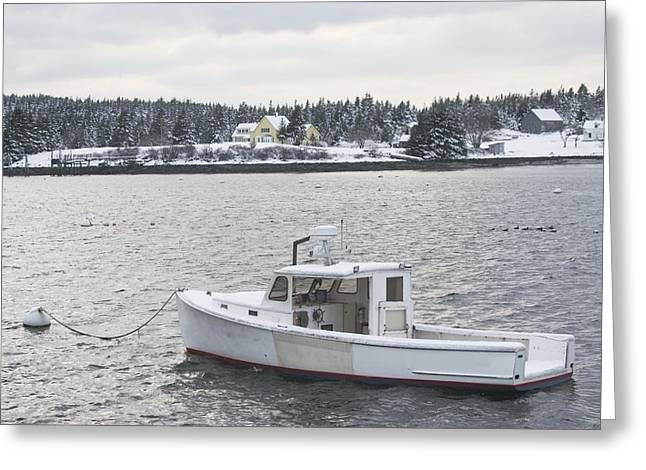 Fishing Boat After Snowstorm In Port Clyde Harbor Maine Greeting Card
