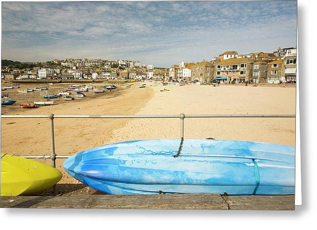 Fishing Boats At Low Tide Greeting Card by Ashley Cooper