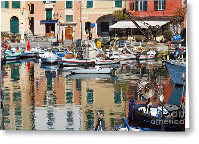 fishing boats in Camogli  Greeting Card
