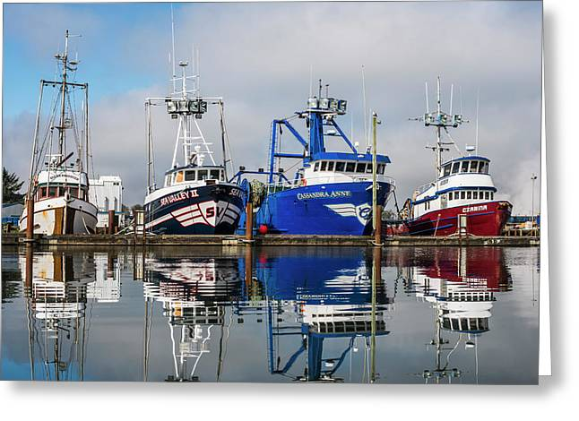 Fishing Boats Moored At The Dock Greeting Card