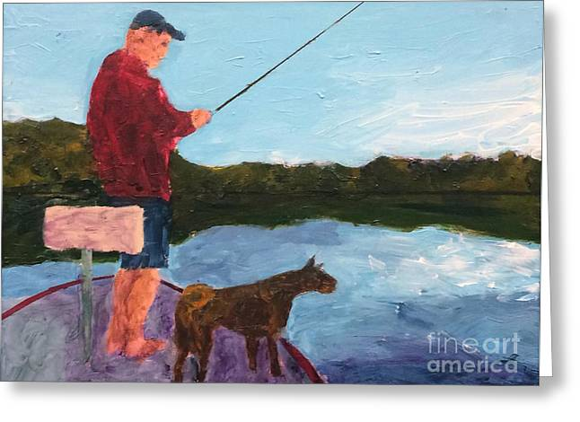 Greeting Card featuring the painting Fishing by Donald J Ryker III