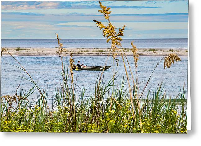 Fishing In Pawleys Island Inlet Greeting Card