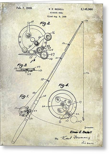 Fishing Reel Patent 1939 Greeting Card by Jon Neidert