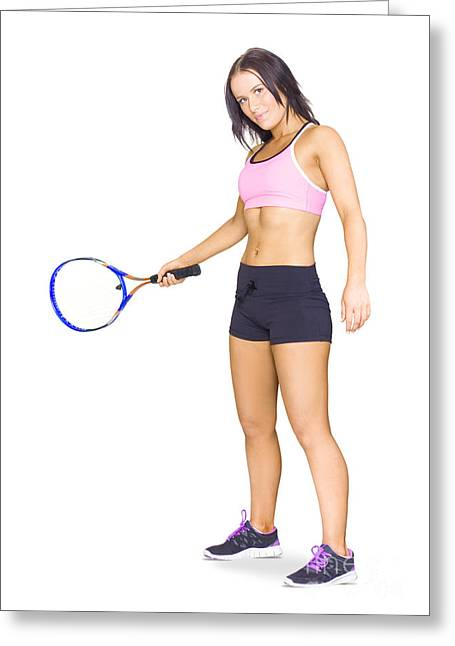 Fit Active Female Sports Person Playing Tennis Greeting Card