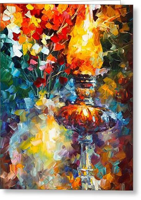 Flame Greeting Card by Leonid Afremov
