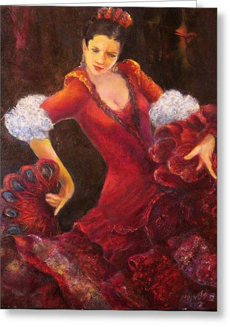 Flamenco Dancer With A Fan Greeting Card