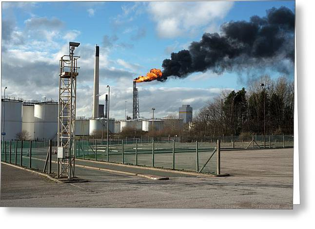 Flaming Burn-off Tower At Oil Refinery Greeting Card by Robert Brook