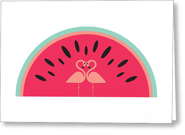 Flamingo Watermelon Greeting Card by Susan Claire