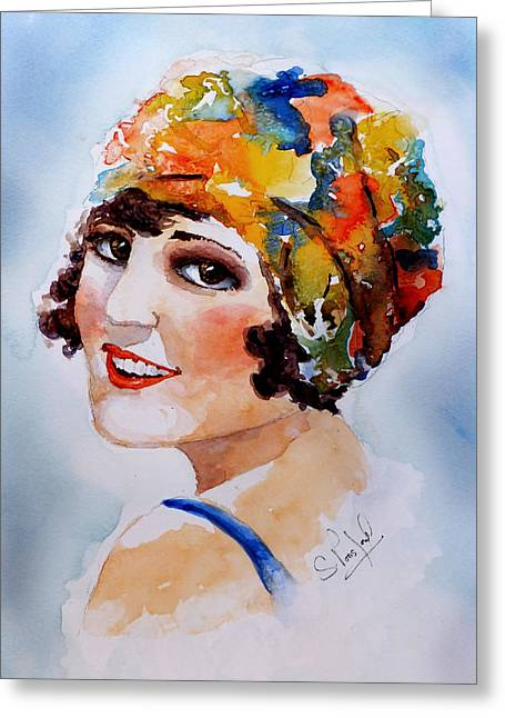 Flappers Girl Greeting Card by Steven Ponsford