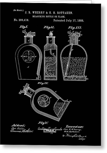 Flask Patent 1888 - Black Greeting Card by Stephen Younts