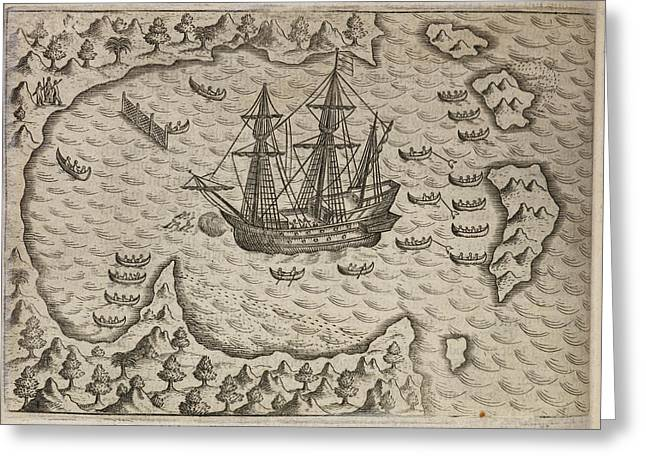 Fleet Of Sailing Ships In A Sheltered Bay Greeting Card