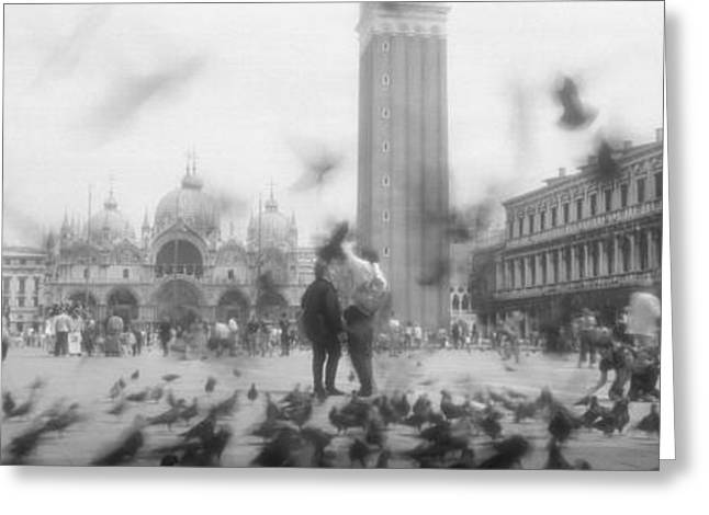 Flock Of Pigeons Flying, St. Marks Greeting Card
