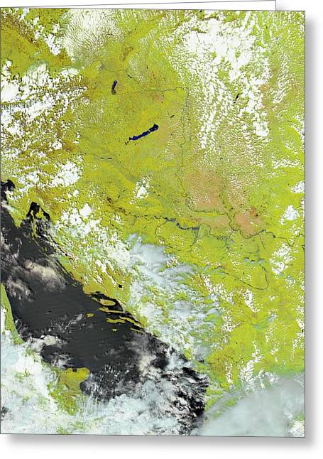 Flooding In The Balkans Greeting Card by Nasa Earth Observatory