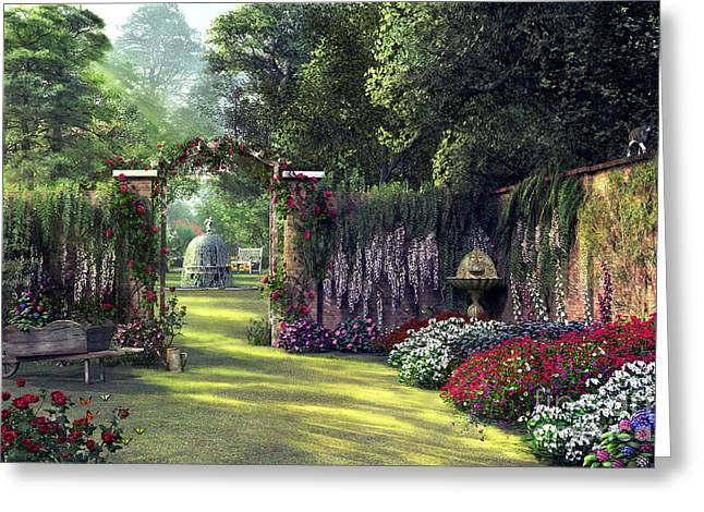 Floral Garden Greeting Card by Dominic Davison