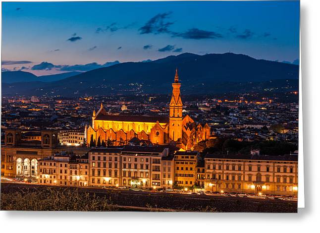 Florence City At Night Greeting Card by Gurgen Bakhshetsyan