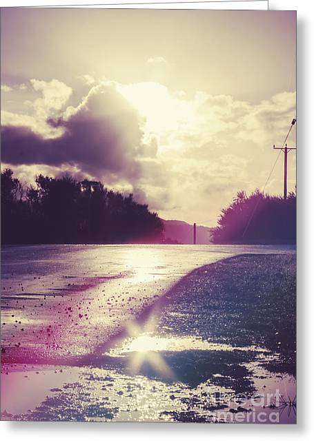 Florescent Road Sunset. Passing Storm Reflection Greeting Card by Jorgo Photography - Wall Art Gallery